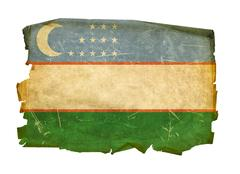 uzbekistan flag old, isolated on white background. - stock photo