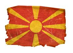 Stock Photo of macedonia flag old, isolated on white background.
