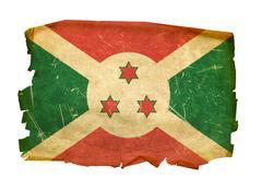 burundi flag old, isolated on white background. - stock photo