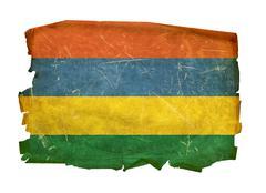 mauritius flag old, isolated on white background. - stock photo