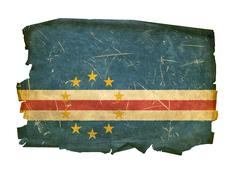 cape verde flag old, isolated on white background - stock photo