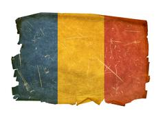 Chadian flag old, isolated on white background. Stock Photos