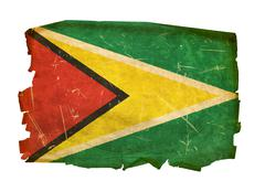 guyana flag old, isolated on white background. - stock photo