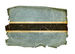 botswana flag old, isolated on white background. - stock photo