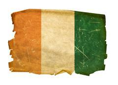 ivory coast flag old, isolated on white background - stock photo