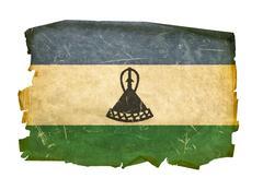 lesotho flag old, isolated on white background - stock photo