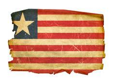 liberian flag old, isolated on white background - stock photo