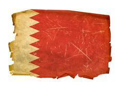 bahraini flag old, isolated on white background - stock photo