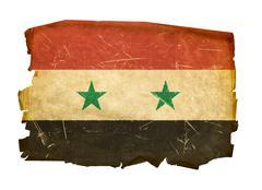 syrian flag old, isolated on white background - stock photo