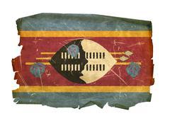 swaziland flag old, isolated on white background - stock photo