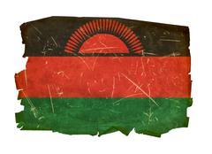 malawi flag old, isolated on white background - stock photo