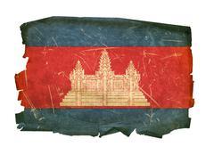 Cambodia flag old, isolated on white background Stock Photos