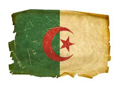 algeria flag old, isolated on white background - stock photo