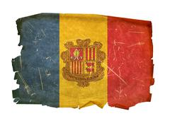 Andorra flag old, isolated on white background Stock Photos