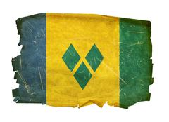 saint vincent and the grenadines flag old, isolated on white background - stock photo