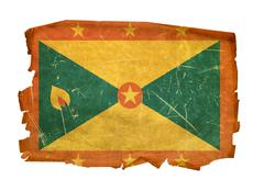 Grenada flag old, isolated on white background Stock Photos
