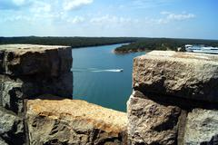 View of the lake looking from a tower Stock Photos