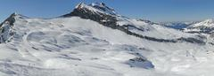 High alpine ski area in the french alps.. Stock Photos