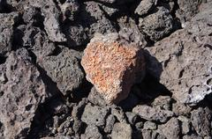 Detail, rough lava from ancient volcanic eruption, .. Stock Photos