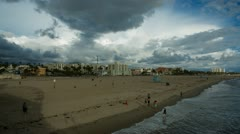 Clouds Moving Over Santa Monica Beach HD Timelapse - stock footage