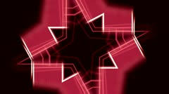 Red and White Kaleidoscope Star - stock footage