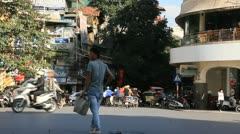 Hanoi Vietnam - Busy traffic - lots of cars and bike in all directions6 Stock Footage