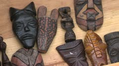 African Art in box on a marketplace Stock Footage