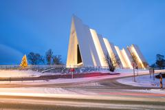 arctic cathedral tromso norway - stock photo