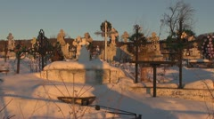 Panoramic view of a cemetery in sunset - stock footage