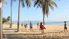 Volleyball game on Nha Trang beach in Vietnam3 - stock footage