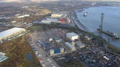 Aerial view over a busy London harbour  Stock Footage