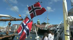 Norway Stavanger flags full view s Stock Footage