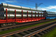 High speed freight train with metal pipes - stock illustration