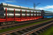 Stock Illustration of High speed freight train with metal pipes