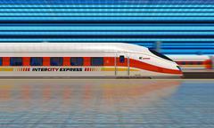 Modern high speed train at the railway station Stock Illustration