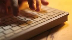 White Keyboard Typing Upper View Stock Footage