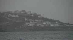 Greek village across water Stock Footage