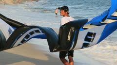 Getting ready to Kite Surf on beach in Mui Ne Vietnam. Stock Footage