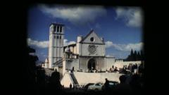 Vintage 8mm. Basilica of San Francesco (Saint Francis) in Assisi Stock Footage