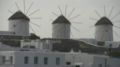 History & culture, Mykonos windmills, medium shot Stock Footage