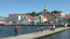 Norway Stavanger harbor view sa Stock Footage
