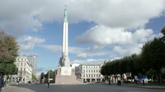 The Freedom Monument in Riga. Timelapse. Stock Footage