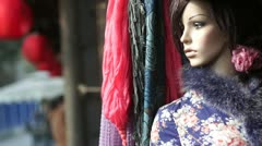 Ancient China, clothing store plastic female model Stock Footage