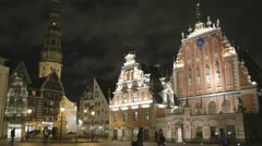 Beautiful old architecture of the central square of Riga. Stock Footage