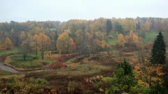Aerial view of autumn forest and curving river in Toila, Estonia. Stock Footage