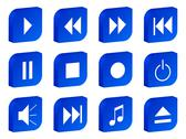 Audio video 3d icon blue Stock Illustration