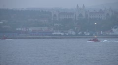 Early dawn Istanbul, pilot boats crossing Stock Footage