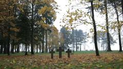 Three tombstone crosses. Cemetery of German soldiers in Toila, Estonia. Stock Footage