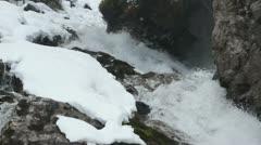 Waterfall in snowy landscape Stock Footage