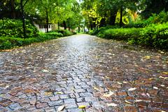 Wet cobble stone path in parco dell arena, padua Stock Photos